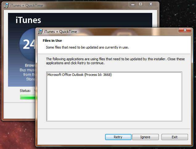 iTunes needs to update Outlook? WTF?