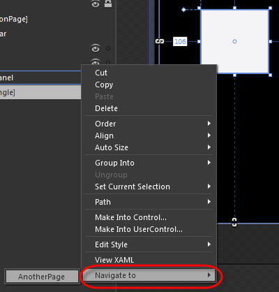 Using Blend's Context Menu to Navigate