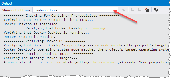 Container Tools in the Output Window