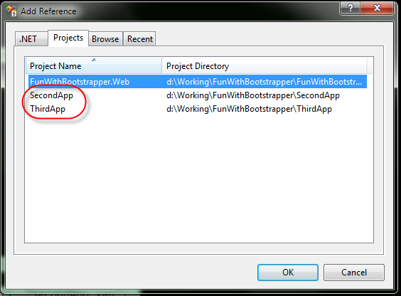 Project Reference Dialog