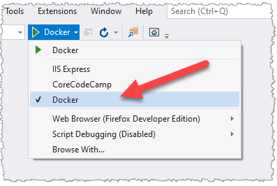 Docker in the Debugging Toolbar